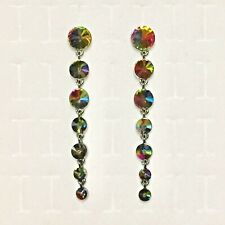 Rhinestone Statement Earrings Cocktail Formal Faux Mystic Topaz Silver Tn 3.5""