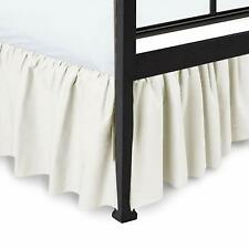 Ruffled Bed Skirt with Split Corners Gathered Style Easy Fit Cotton Ivory