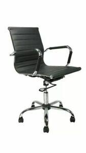 Brand New Black Ribbed Retro Home Office Chair Tilt Action