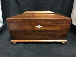 Victorian Tea Caddy mahogany and burl walnut bun feet