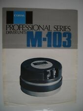 CORAL M-103 HF DRIVER BROCHURE ORIGINAL 2 x A4 PAGES