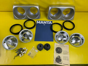 New Orig Irmscher Opel Manta B Headlight Frame Set Incl Double Headlights