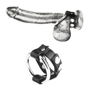 Metal Cock Ring With Adjustable Snap Ball Strap - Multi Styles