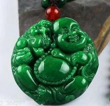 100%Chinese beautiful natural jade hand-carved laugh maitreya Lucky Jade pendant