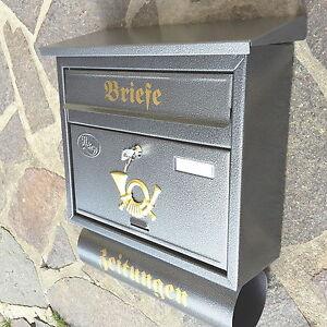 Moderner großer Briefkasten / Postkasten Silber + Zeitungsfach Katalogeinwurf P
