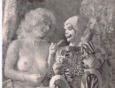 "Hendrickson B&W PHOTO 9x 10 1/2"" CLOWN WINNING STRIP POKER W/TOPLESS SHOWGIRL"