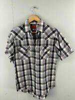 Plains Western Wear Vintage Men's Short Sleeve Shirt Pearl Snap Buttons Size S