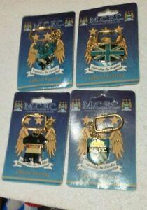 Manchester City FC vintage enamel keyrings x 4