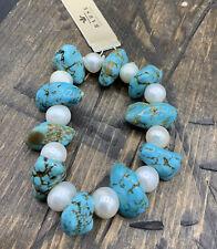 Barse Multi-Stone Stretch Bracelet-Freshwater Pearl & Turquoise- NWT
