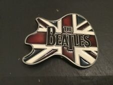THE BEATLES Band Music New BELT BUCKLE Metal Pewter UK Union Jack Flag Guitar