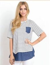Denim & Gray and Blue Stripe Cotton Top #A1193