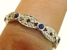 R133 Genuine 9K White GOLD Natural Sapphire Diamond Full Eternity Ring size 6.75