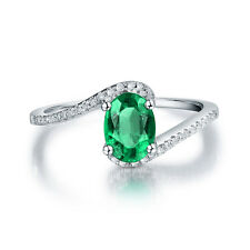 Solid 14K White Gold Natural Emerald & Diamond Wedding Exquisite Ring