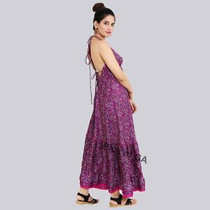 Handmade Ladies Casual Evening Summer Dress Indian Sari Silk Long Dress