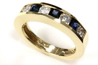 0.95 ct tw Natural Sapphire & Diamond 14k Yellow Gold Channel Wedding Band Ring