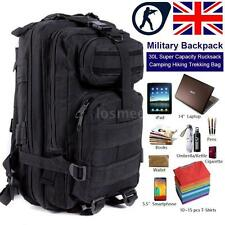 30L Size Appropriate Backpack Molle Outdoor Sports Bag Camping Hiking Black