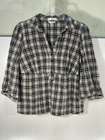 Christopher & Banks Stretch Long Sleeve Button Shirt Pink/Black Plaid Sz M -USED