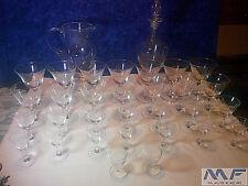 Servizio completo di bicchieri in cristallo cesellato, vintage anni '60