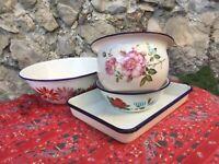 3 Vintage French Enamelware Bowls + Tray Enamel Floral Blue Rimmed Graniteware