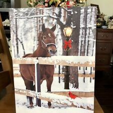 LED Lighted Country Horse & Lampost Christmas Scene Home Canvas Wall Art 15.75""