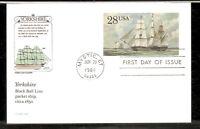 US SC # UX122 Yorkshire, Squarerigged Packet. Postal Card FDC. HF Cachet