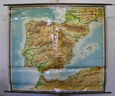 Schulwandkarte Beautiful Old Spain Portugal Iberia 179x158c Vintage~1950