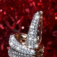 18k yellow white gold gf made with SWAROVSKI crystal huggies statement earrings