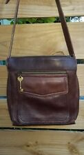 Vintage FOSSIL Brown Leather Crossbody Shoulder Bag Handbag Purse