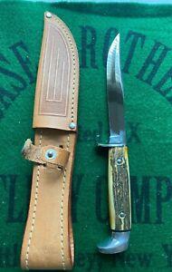 case xx 5 finn fixed blade knife stag 1965-1969usa era unused near mint original