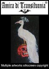 Quadro pavone bianco arte serigrafia tela uccello bianco teschio rosso firmato