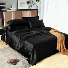 SOFT & COZY Twin Size 3pc Satin Sheet Set Soft Silk Cozy Solid Black