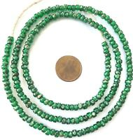 Fine vintage Green Picasso matching 4mm glass beads Trade Beads