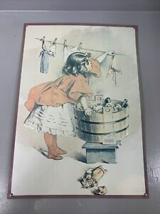 Vintage Little Ivory Soap Girl Busy Day Hanging Laundry Tin Metal Sign 17 X 12