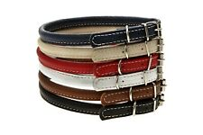 ROLLED LEATHER DOG COLLAR XXXS XXS XS S 5 COLORS SOFT DURABLE COMFORTABLE NEW
