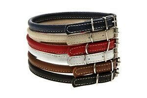 ROLLED ROUND LEATHER DOG COLLAR XXXS XXS XS S 5 COLORS SOFT DURABLE COMFORTABLE