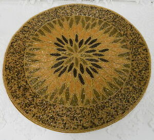 "BROWN BEIGE Glass Beaded 15"" Round Placemat Charger TABLE CENTERPIECE DOILY"