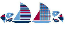 SAILBOATS wall stickers 16 decals bathroom child decor nautical ships boats fish