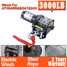 Electric Winch 3000LBS/1361KG 12V Steel Cable Wireless Remote ATV 4WD Boat Truck