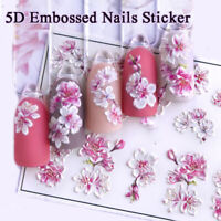 5D Embossed Colorful Flowers Nail Stickers Water Sliders Nail Art Self Adhesive