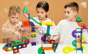 Marble Run Ball Magnetic Tiles 80 Pc Building Blocks Kids Montessori Toys Puzzle