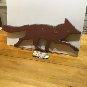 Primitive Wood Wooden Painted... Fox or Wolf ...Folk Art Barn Find ...Sign