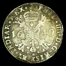 Rare Very Fine Huge Silver 1649 Netherlands Brabant/Patagon Philip IV