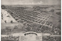 Wyandotte, Michigan. Antique Birdseye Map; 1896