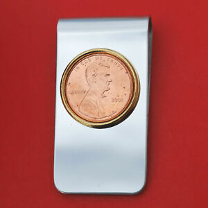 US 2002 Lincoln Penny Coin Stainless Steel Money Clip New