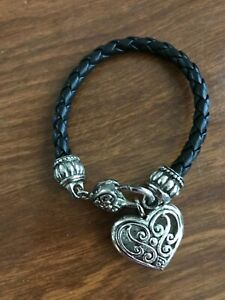 Brighton Black Leather Silver Heart Bracelet