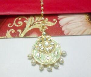 Mint Green Maang Tikka Gold Plated Bridal Pearls Head Piece Wedding Jewelry Gift