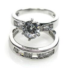 De Buman 12.15g Sterling Silver Cubic Zirconia Bowknot Ring Set, Size 6.25