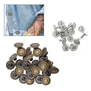 20 x 17mm Jeans Buttons Hammer on Denim Replacement Brass Studs Jackets Coats