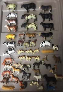 Large Lot Farm Animals Cows Bulls Goat Dog Chicken Horses Mule Pony Figures #K24