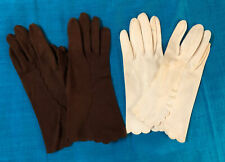 Vintage Lot of 2 Pairs Womens One Size Cotton Gloves White Brown Scalloped Edges